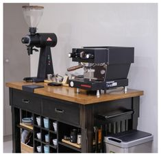 #mini #espresso #bar #miniespressobar Coffee Area, Coffee Room, Coffee Bar Home, Coffee Corner, Coffe Bar, Coffee Machine Design, Coffee Bar Design, Coffee Bar Station, Home Coffee Stations