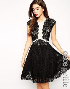 Image 1 ofASOS PETITE Premium Prom Dress With Lace Applique