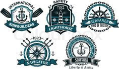 Stock vector of 'Nautical badges and emblems set in heraldic style with anchors, lighthouse, steering wheel, chains, trident, oar and ropes'