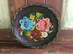 Vintage Handpainted Floral Wood Mexican Oval Bowl / Plate
