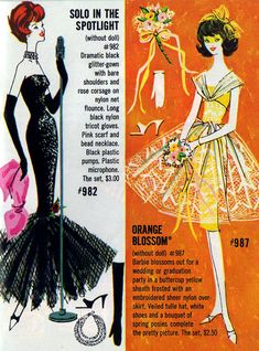 Vintage barbie booklet. That black gown transformed me into a fashionista at 7. Still my favorite outfit in all the collections.