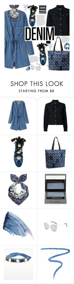 """""""All Denim, Head to Toe"""" by beebeely-look ❤ liked on Polyvore featuring Maison Kitsuné, Unpaired, Burberry, Sisley, Cara, Marc Jacobs, StreetStyle, DenimDress, alldenim and twinkledeals"""