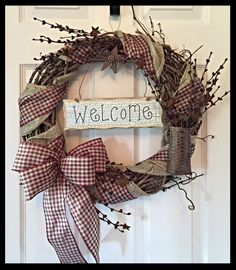 Grapevine Wreath with Burlap and Gingham Ribbon; Primitive Wreath; Country Wreath; Welcome Wreath; Rustic Wreath; Wreath with tin stars by ChewsieCreations on Etsy