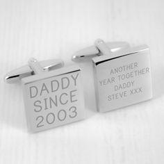 Engraved Daddy Since Cufflinks