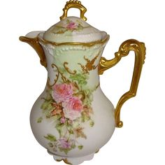 French Antique Limoges Chocolate Pot Hand Decorated with Pink Roses Ornate…