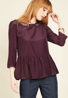 Sprightly Attire Ruffled Top in Plum. The only thing more energizing than this peppy peplum blouse is the collection of ecstatic compliments youll receive on its look! Ruffle Collar Blouse, Peplum Blouse, Peplum Tops, Sheer Blouse, Plus Size Blouses, Plus Size Tops, Brown Slip On Shoes, Bohemian Blouses, Flutter Sleeve Top