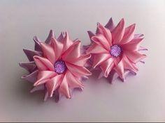 Украшение на резинку Канзаши / Розово-сиреневые цветочки / Цветочки из узких лент - YouTube