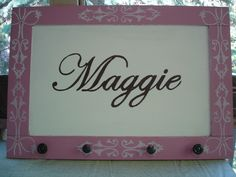 For a baby shower gift or project for a little girl's room:  Take an old cabinet door, paint it.  Cut out a stencil for the name and paint.  Drill holes in the bottom for drawer pulls or hooks.  Add hardware to the back for hanging on the wall.  Option: use another stencil for border details.