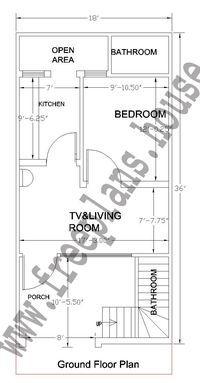 18x36 Feet Ground Floor Plan,