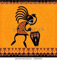 Vector tribal art - Dancing figure with drum