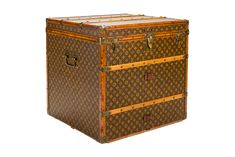 This authentic Louis Vuitton Cube Steamer Trunk, circa 1910-1920's, features monogram canvas, all brass hardware, and Iozine leather trim. Top of the line model. Void of owner initials and monogram striping. Exterior and interior conditions are excellent. A pristine piece in a very rare and usable cube shape.
