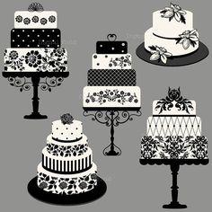 INSTANT DOWNLOAD Elegant Wedding or Birthday Cake Clip Art Set - printable digital clipart on Etsy, $4.00