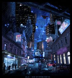 Cyberpunk Hometown by Leslie Cooper on ArtStation. Cyberpunk City, Futuristic City, Post Apocalyptic City, Underground Cities, Ghost In The Shell, Shadowrun, Future City, Weird World, Arquitetura
