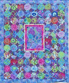 Blue Chintz Quilt, snowballs in Kaffe Fassett Fabrics at Glorious Color