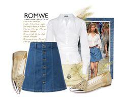 """""""A-Line denim Skirt-Romwe"""" by samketina ❤ liked on Polyvore"""