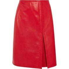 Bottega Veneta Leather midi skirt (19,330 CNY) ❤ liked on Polyvore featuring skirts, zipper skirt, calf length skirts, red skirt, leather midi skirts and a-line skirt