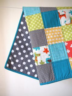 BABY QUILT Modern Colorful Animals Baby Quilt by TwoCornerQuilts