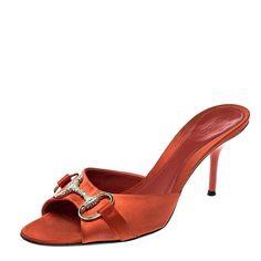 10eef7c2946 Gucci Orange Satin Crystal Embellished Horsebit Slides Size 37 · Mules Shoes Gucci