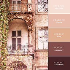 ◆Warm Antique ひとつの色合いの異なる濃さで表現された、淡色系のカラーパレット。ベースカラーにはもっとも暗い色が適用され、その他の異なる色の明るさで調整されます。茶色を利用したこの組み合わせは、オーガニック系会社やスタートアップ・ブランドなどに適しています。