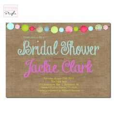 SHABBY CHIC BURLAP Floral Pink Accent Bridal Shower Invitation Shabby Chic Pink Blush Digital or  Free Shipping 75 Modern Invitations, Bridal Shower Invitations, Shabby Chic Pink, Pink Accents, Blush Pink, Burlap, Free Shipping, Digital, Floral