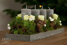 Weihnachtsdeko basteln Adventskranz im Naturlook Deko-Kitchen