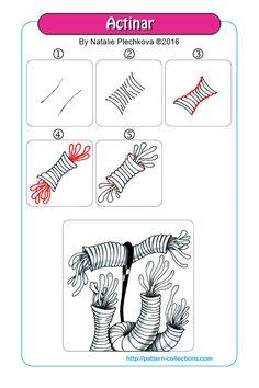 Actinar Tangle, Zentangle Pattern by Natalie Plechkova Zentangle Drawings, Doodles Zentangles, Doodle Drawings, Tangle Doodle, Zen Doodle, Doodle Art, Zantangle Art, Zen Art, Doodle Patterns