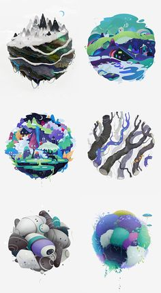 Illustration of nature and elements, round Graphic Design Illustration, Art And Illustration, Graphic Art, Design Art, Web Design, Posca Art, Illustrations And Posters, Grafik Design, Graphic Design Inspiration