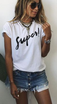 Big letters add some fashion elements to this T-shirt,you can wear it