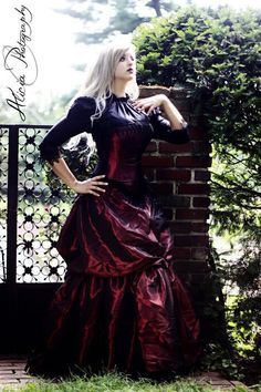 Victorian Steampunk Dress Alternative Wedding Gown in Red Taffeta and Black Lace-Custom to Order $625