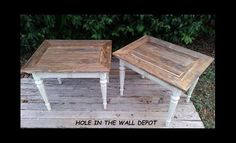 Rustic Vintage side table pair with by HoleInTheWallDepot on Etsy