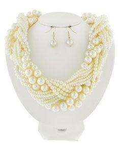 Gold Tone / Cream Synthetic Pearl / Lead&nickel Compliant / Fish Hook (earrings) / Necklace & Earring Set