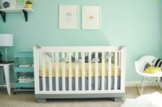 Paint color: Valspar Lake Breeze Aqua, grey, black, white and yellow modern and industrial nursery. Modo crib with the bottom painted grey. Baby Girl Room Decor, Baby Boy Rooms, Baby Boy Nurseries, Baby Cribs, Nursery Decor, Nursery Ideas, Triplets Nursery, Playroom Decor, Project Nursery