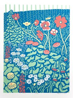 Flower Garden Screenprint. Part of our Spring Line of art and decor.  www.rustyandingrid.com