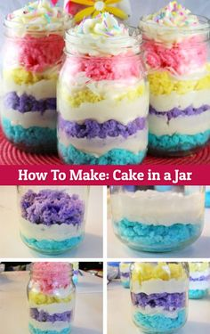 It's CAKE in a JAR - love the bright colors of this cake in a jar recipe.  Fun cake idea for Easter, Baby Showers, birthday parties and more.  See more cake in a jar ideas here.