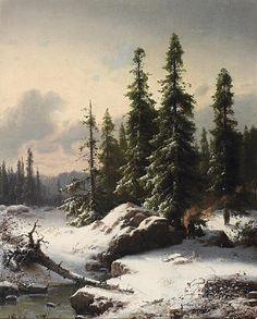 Carl Ludwig Scheins: Im Winterwald aus unserer Rubrik: Gemälde des 19. Jahrhunderts