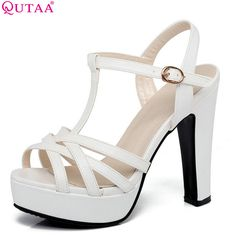 Cheap women sandals, Buy Quality womens platform sandal shoes directly from China womens sandal heels shoes Suppliers: QUTAA 2017 Women Sandal Square High Heel Platform Women Shoes Slingback Peep Toe PU Leather Ladies Wedding Shoes Size 34-43