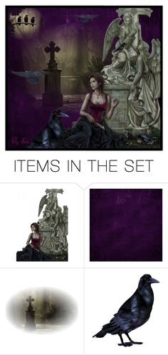 """Lady Raven & the Crows"" by selene-cinzia ❤ liked on Polyvore featuring art"