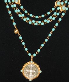 Virgins Saints & Angels San Benito Magdalena Necklace Turquoise and Pacific Opal