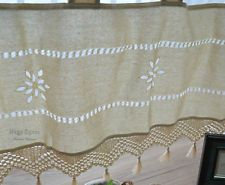 Ecru Hand Crochet Macrame Lace Kitchen Cafe Window Curtain Valance