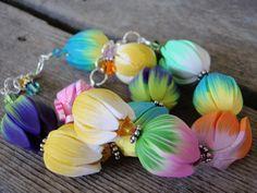 Tulip Garden Bracelet polymer clay bracelet spring bracelet