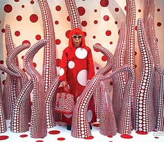 Snapshot of the Louis Vuitton store on Fifth Avenue New York circa a few years ago when the lux brand collaborated with Yayoi Kusama, a world-renowned 82 year old Japanese artist obsessed with polka dot