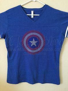 Captain America Rhinestone T-Shirt