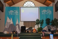 Tell it on the Mountain themed VBS.  Mountains made using ladders.