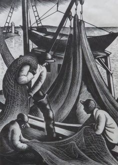 Lot - CLARE LEIGHTON (1901-1989), The Net Menders, 10/300, Wood Engraving
