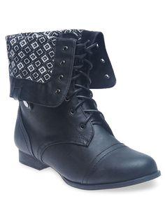 Diamond Print Foldover Combat Boots - Wide Width