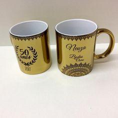 E essas canecas douradas...são lindas para um presente de 50 anos de ea6a45f7e6bb2