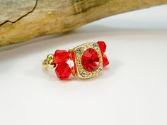 Red and Gold Statement Ring, Cocktail Ring, Stretch Band Ring, Crystal Ring, Gold Stretch Ring, Crystal Ring, Gift for Her by babbleon on Etsy