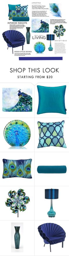 """""""Peacock Decor"""" by terry-tlc ❤ liked on Polyvore featuring interior, interiors, interior design, home, home decor, interior decorating, Trina Turk, Modloft, Lakeview Outdoor Designs and Crestview Collection"""