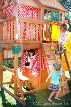 Very cute idea! Maybe for when baby girl is bigger and the boys dont use it as … Very cute idea! Maybe for when baby girl is bigger and the boys dont use it as much! – Kids Curtains – Ideas of Kids Curtains Kids Indoor Playground, Kids Outdoor Play, Kids Play Area, Backyard For Kids, Plastic Playground, Backyard Ideas, Build A Playhouse, Playhouse Outdoor, Outdoor Playset