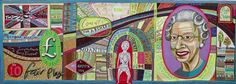 Comfort Blanket tapestry by Grayson Perry showing British things'...things we love, and love to hate.'